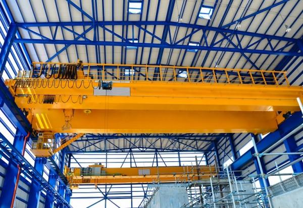 Yellow factory double girder overhead crane in plant