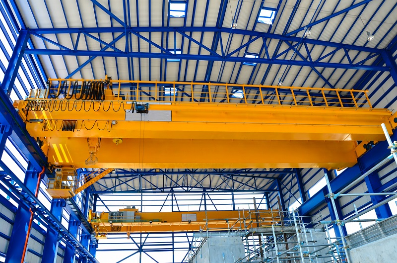 Yellow factory double girder overhead crane in plant